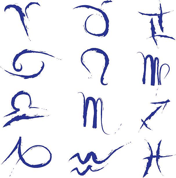 Blue stroke zodiac vector art illustration
