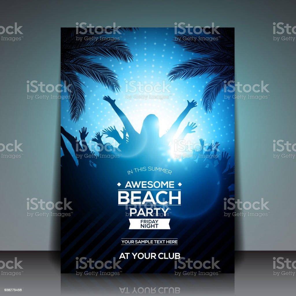 Sommer Strand Party Flyer Vorlage Vektordesign Blau Stock Vektor Art ...