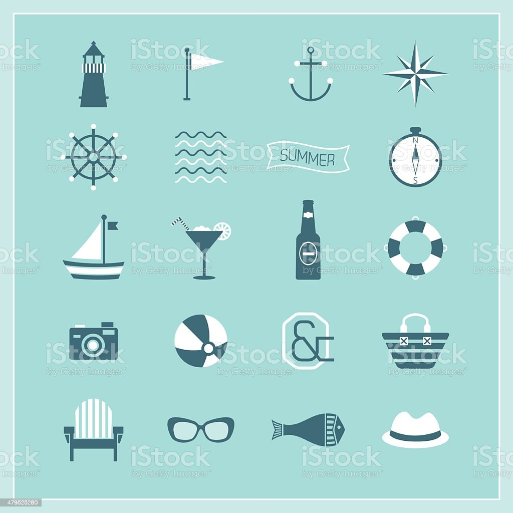 Blue Summer, Naval, and beach icons set vector art illustration