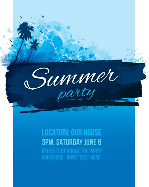 Convite para festa cartaz de verão azul - ilustração de arte em vetor