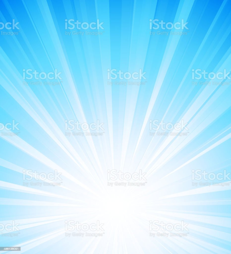 Blue summer sun light burst vector art illustration