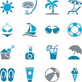 Blue summer themed icons