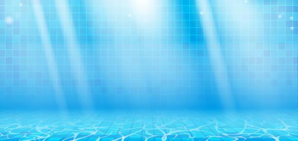 illustrations, cliparts, dessins animés et icônes de vagues d'eau d'été bleues avec des reflets dans la piscine - piscine