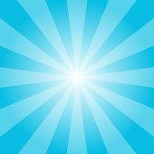 Blue sunburst vector retro illustration. Abstract cyan rays background. Vector EPS 10