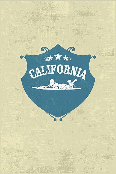Blaue surf-shield mit grunge Hintergrund – Vektorgrafik