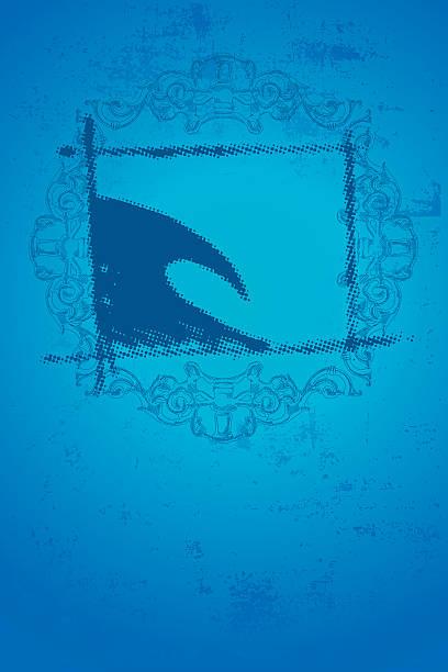 Blaue surf-Welle mit vintage-style-poster – Vektorgrafik