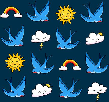 Blue swallows, dark sky, clouds, rainbow, sun.