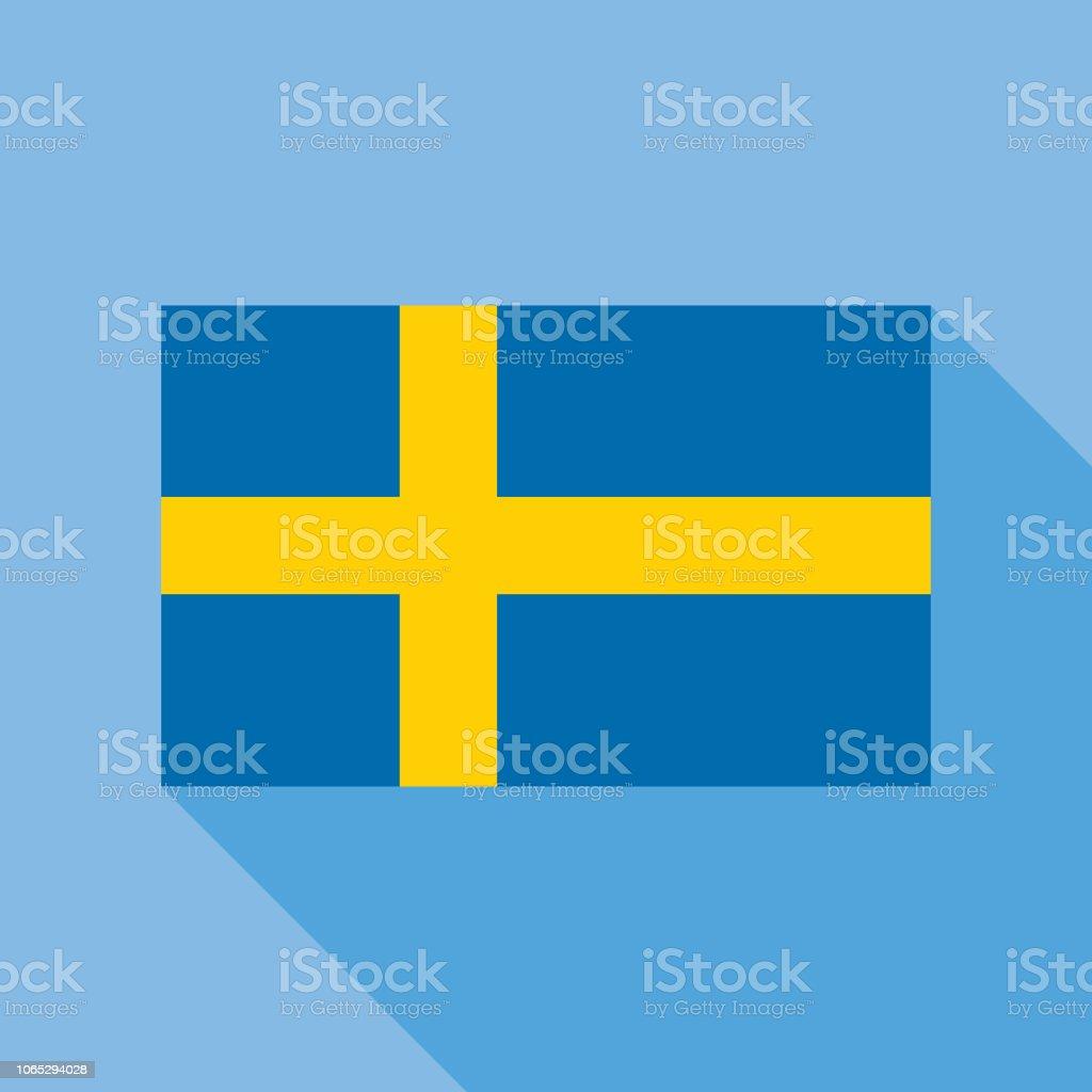 Blue Sweden Flag Icon vector art illustration