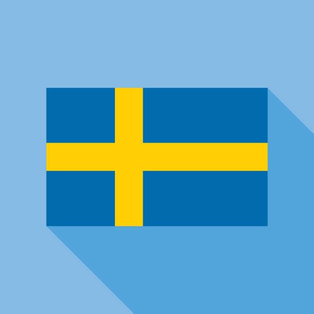ilustraciones, imágenes clip art, dibujos animados e iconos de stock de icono de bandera azul suecia - bandera sueca