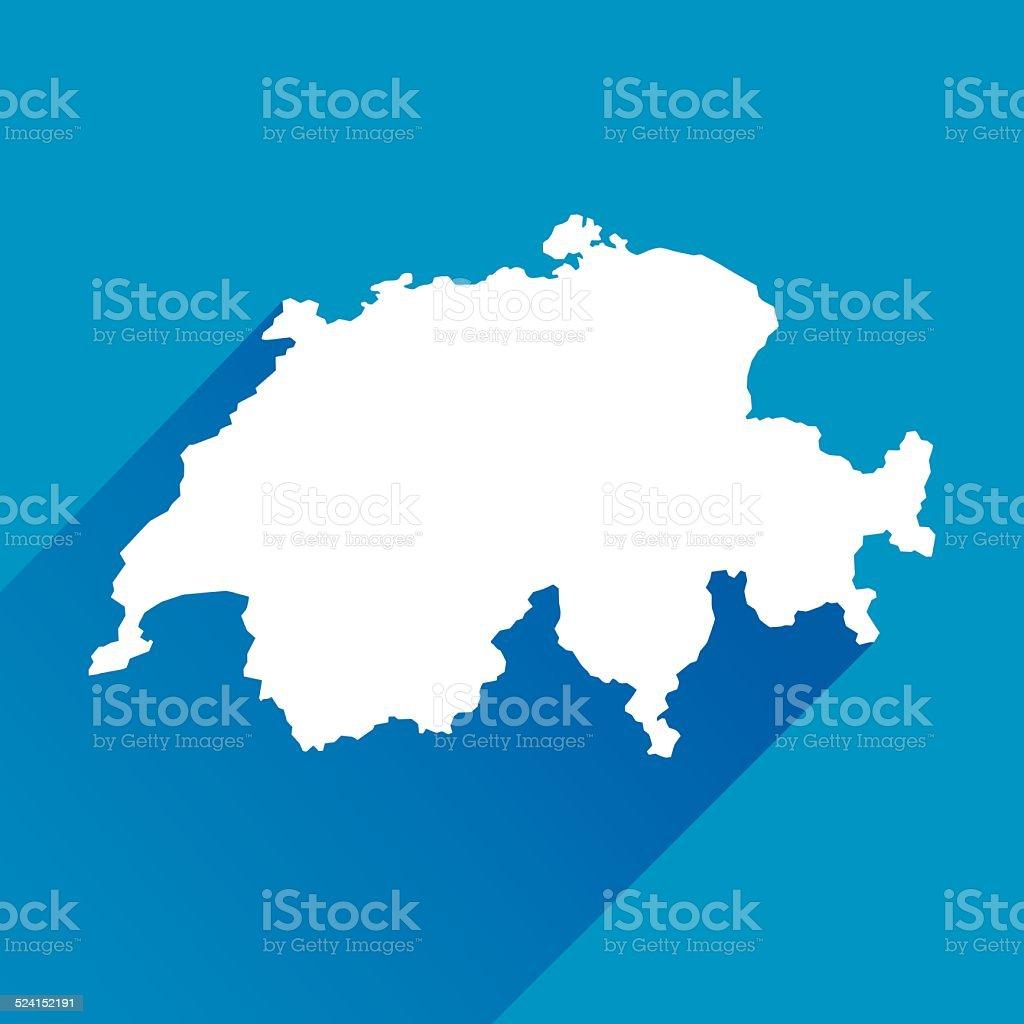 Blue Switzerland Map Icon vector art illustration