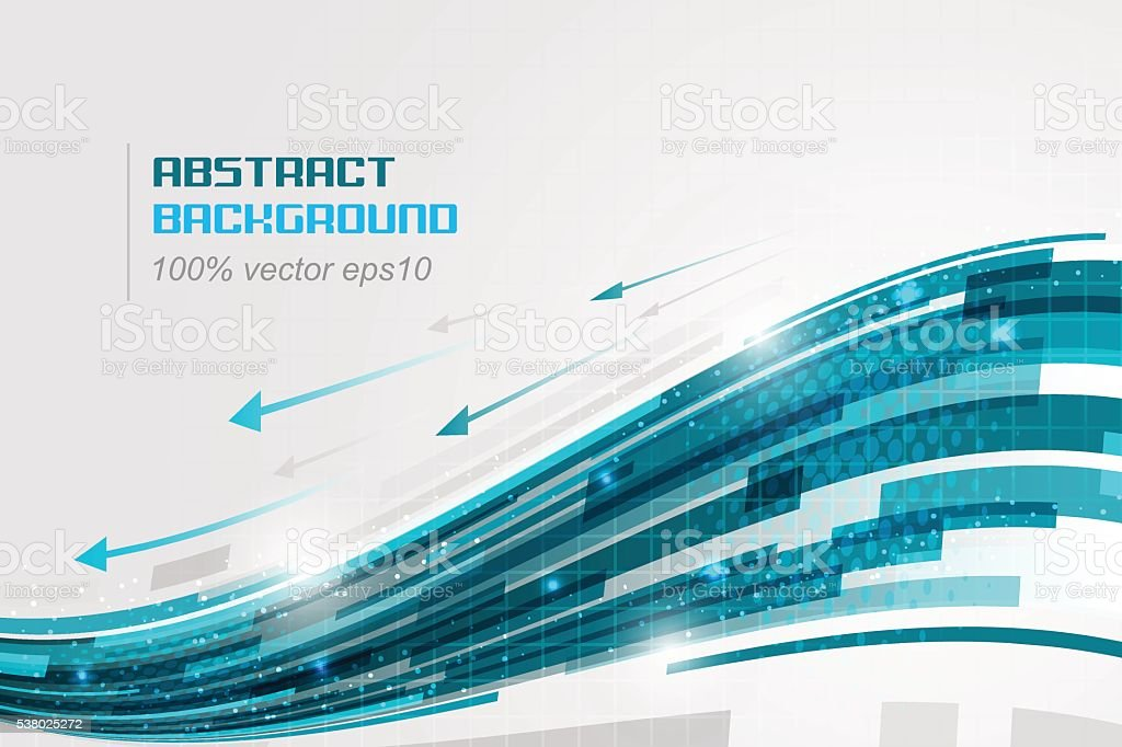 Blue Swoosh. Abstract technology background with arrows and glitter. vector art illustration