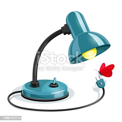 Blue table lamp with black element and yellow light bulb look at red butterfly. Cartoon character. Isolated on white background. EPS10 vector illustration.