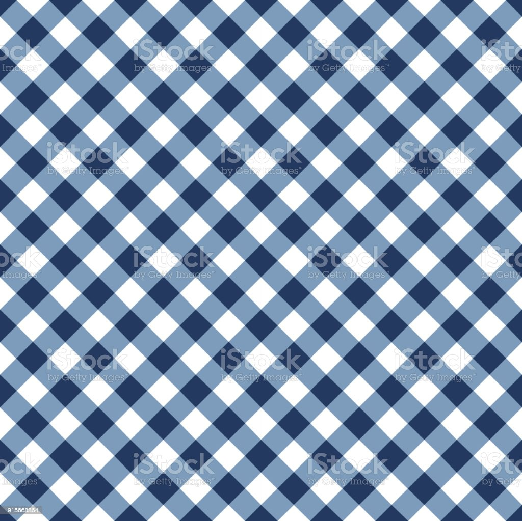 Blue Tablecloth Pattern Vector Art Illustration