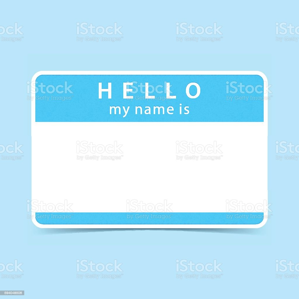 Blue tag sticker HELLO my name is vector art illustration