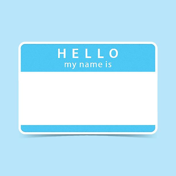 blue tag sticker hello my name is - hello stock-grafiken, -clipart, -cartoons und -symbole