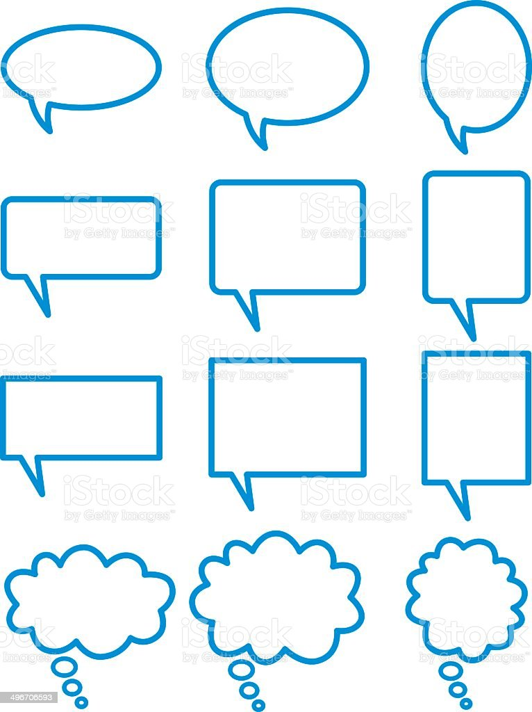 Blue Talk Bubbles vector art illustration