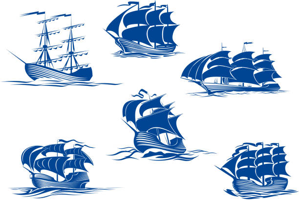 Blue tall ships or sailing ships Blue tall ships or sailing ships, one with its sails stowed and the others with their full sails set cruising the ocean, vector illustration isolated on white pirate ship stock illustrations