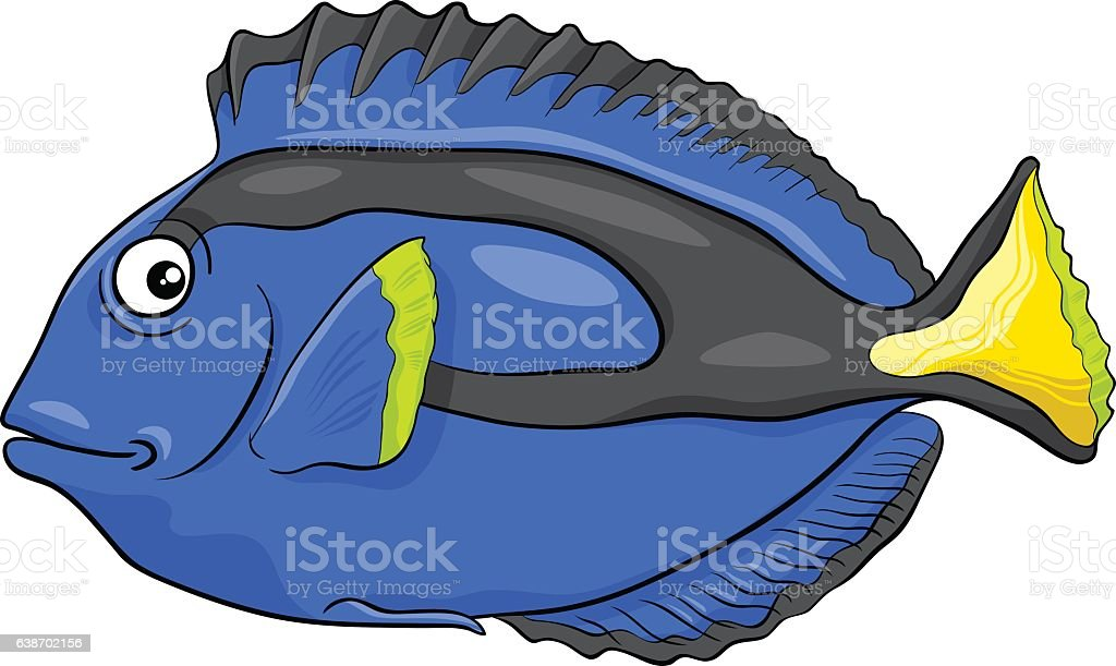 blue tang fish character vector art illustration