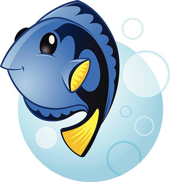 Blue Tang Marine Fish vector art illustration