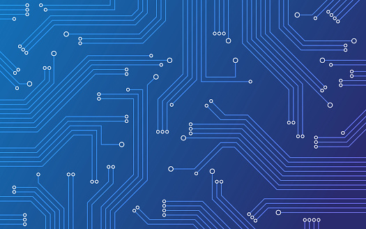 Blue technology circuit board background abstract pattern.