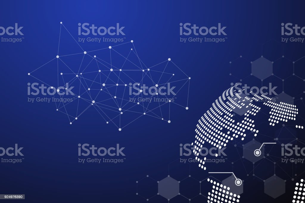 Blue Technology Abstract Background With White Line Dot Business And Connection Concept Internet Cyber Open Comp