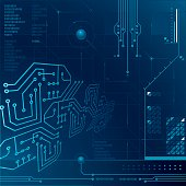 Blue technology background with circuitry and data storage theme