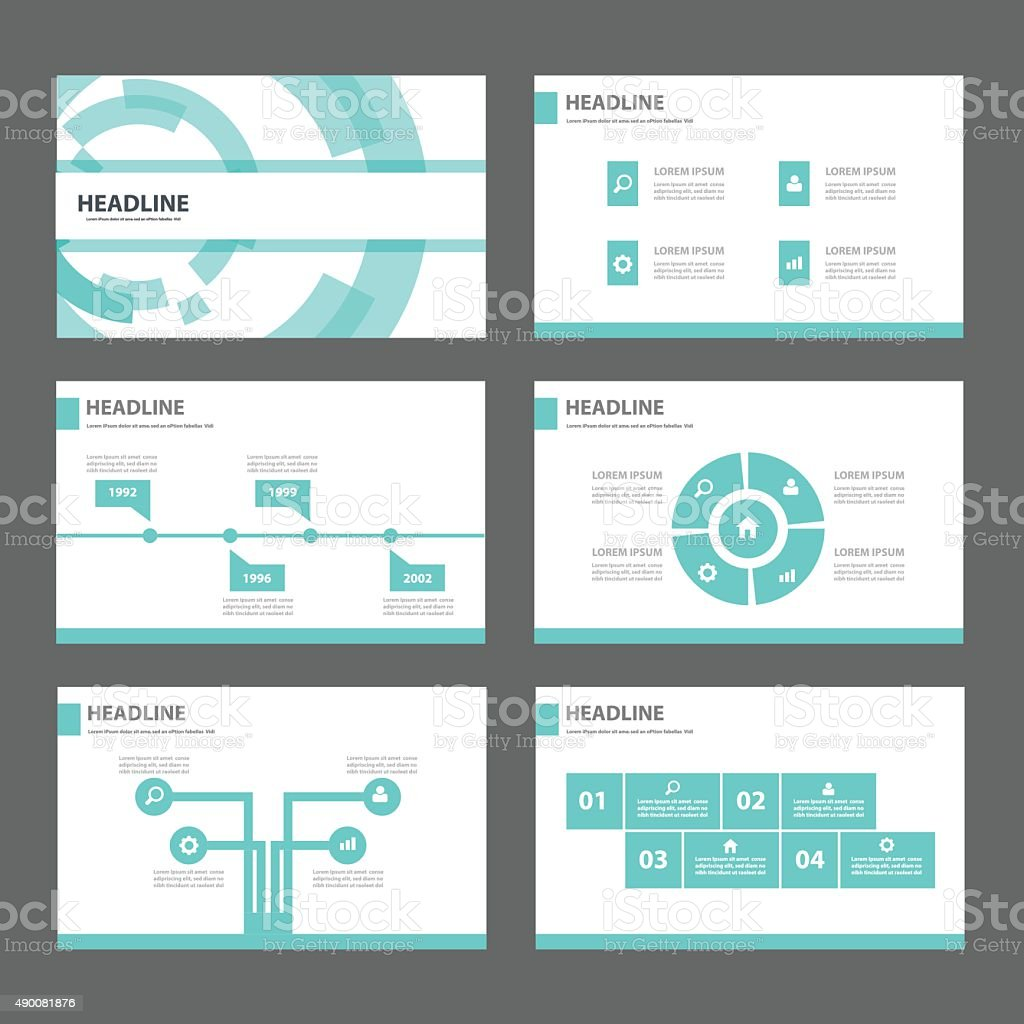 blue technology presentation templates flat design set for, Presentation templates
