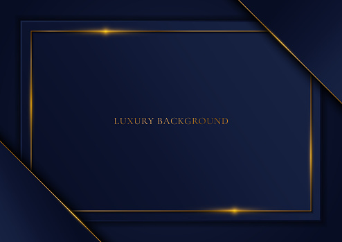 Blue template triangle and gold frame background luxury style