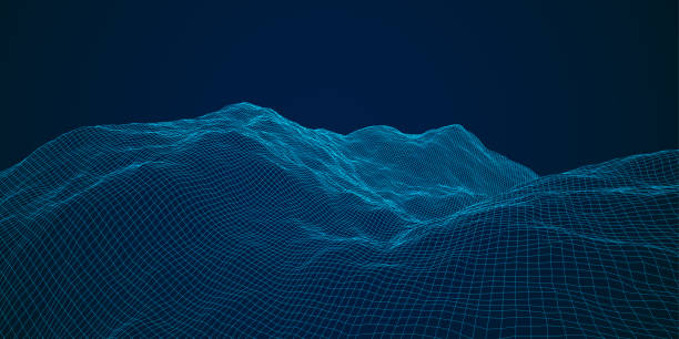 Blue Terrain blue polygonal mesh terrain with editable path land feature stock illustrations