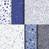 Blue terrazzo background. Seamless pattern