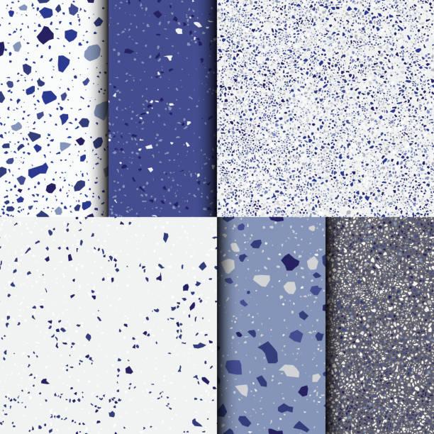 ilustraciones, imágenes clip art, dibujos animados e iconos de stock de fondo azul terrazo. patrón transparente - textura de piedra