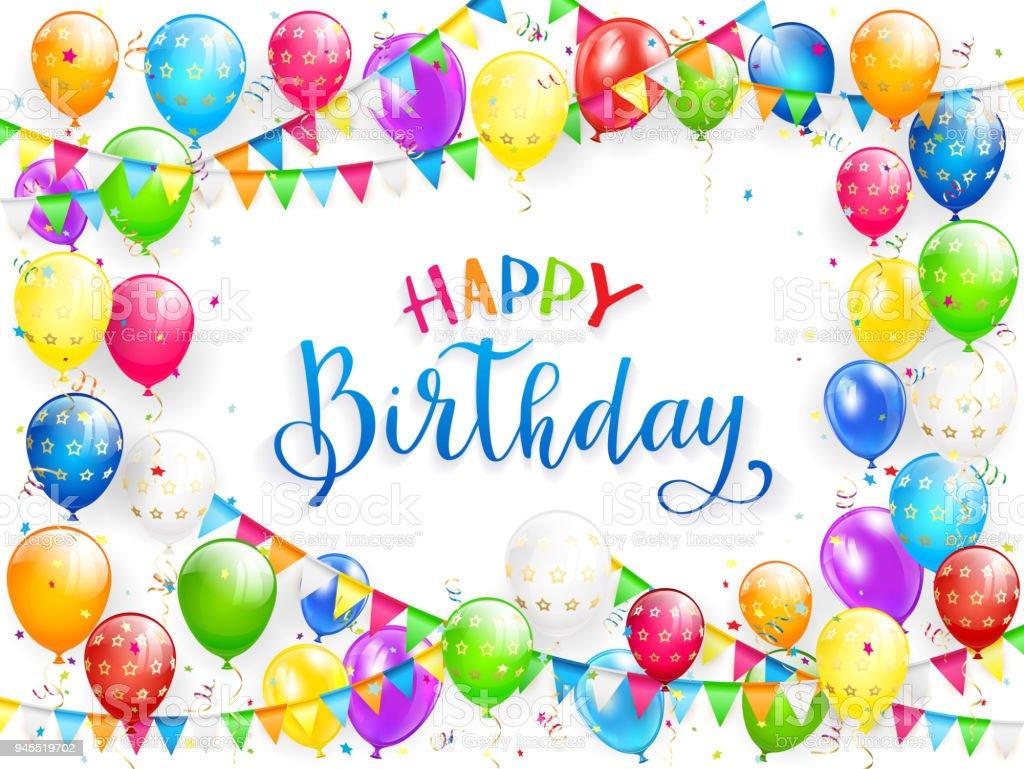Blauer Text Alles Gute Zum Geburtstag Mit Luftballons Und Bunte ...