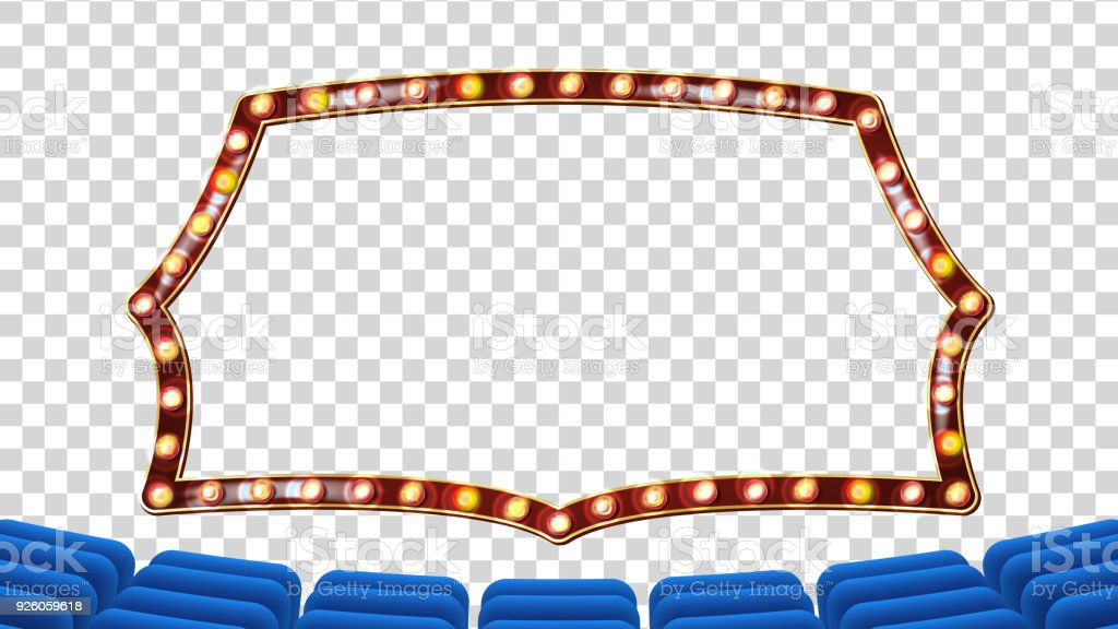 Blue Theater Curtain With Light Frame Vector Blue Background And ...