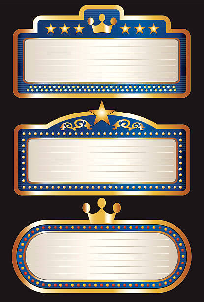 Blue Theater Marquee Collection vector art illustration