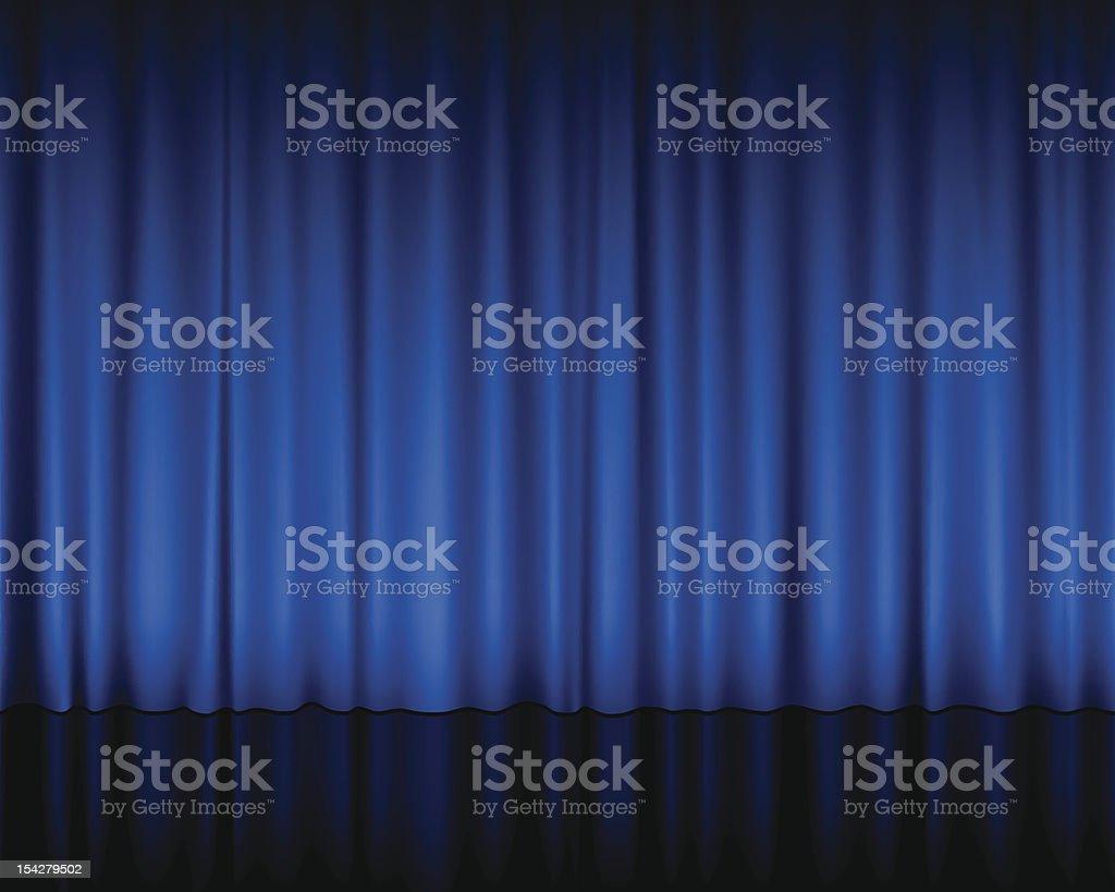 blue theatre curtain vector art illustration
