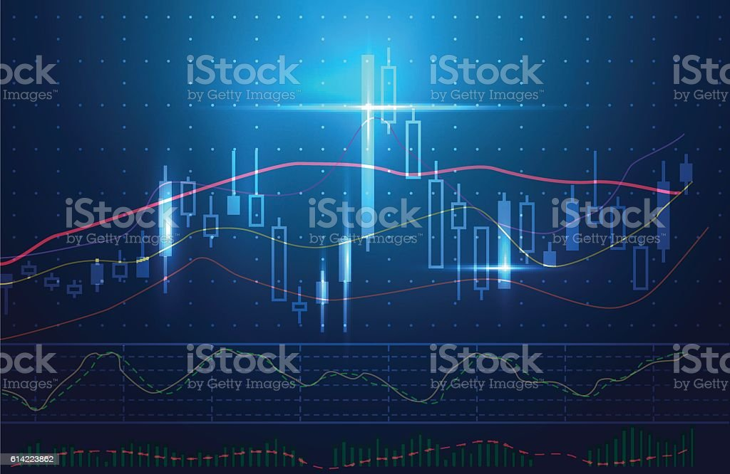 Blue theme background concept about investment in stock. - Illustration vectorielle