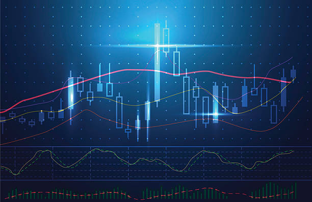 Blue theme background concept about investment in stock. Blue theme background concept about investment in stock. Vector stock charts and market analysis. Ideal for technology concept background. candlestick holder stock illustrations