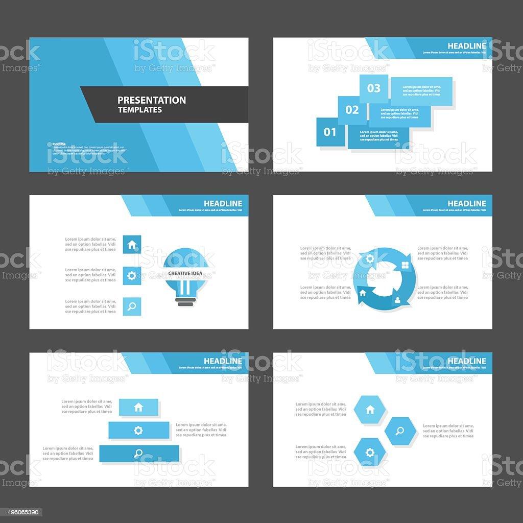 Blau Mehrzweckinfografikelementevorlage Für Präsentation Flatdesign ...