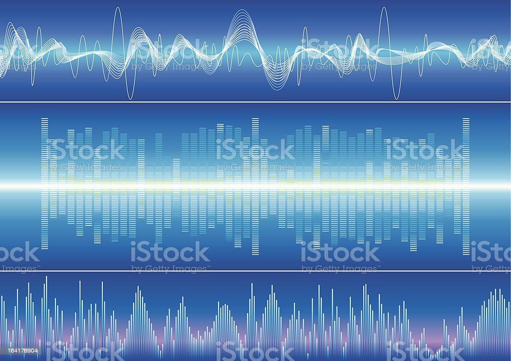 Blue themed graphical representations of sound vector art illustration