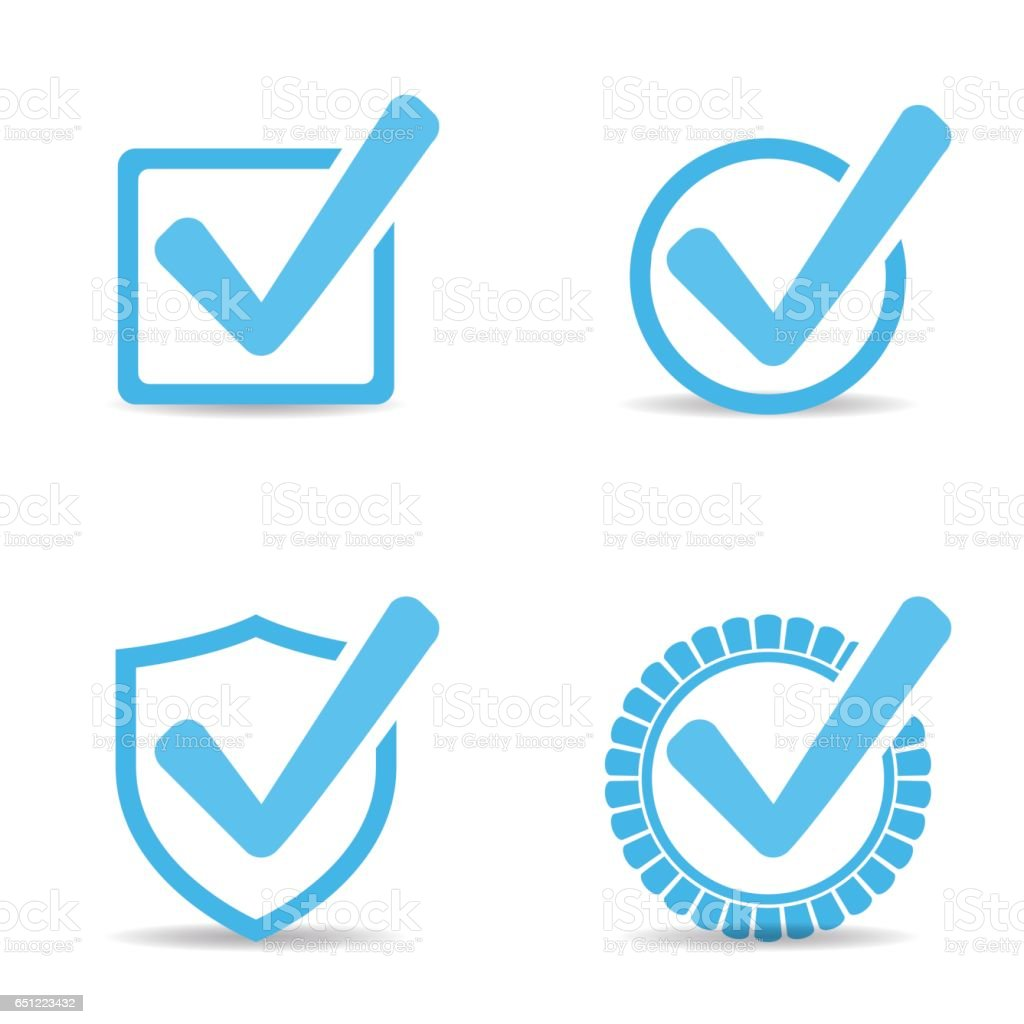Blue Tick Checkbox, set Icons vector with shadow vector art illustration