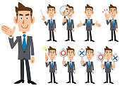 Blue tie and gray suit wearing businessman's gestures and expression _ Nine types of whole body
