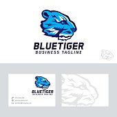 Blue tiger vector logo with business card template