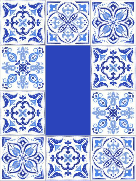 niebieska ramka wzoru kafelków - kultura portugalska stock illustrations