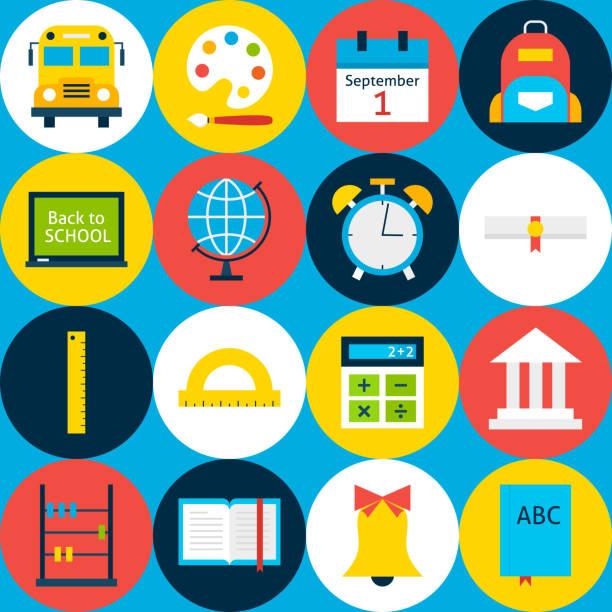 blue tile school background with circles - grundschule stock-grafiken, -clipart, -cartoons und -symbole