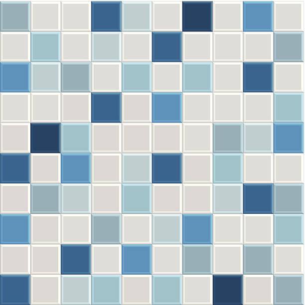 blauen fliesen textur - mosaikglas stock-grafiken, -clipart, -cartoons und -symbole