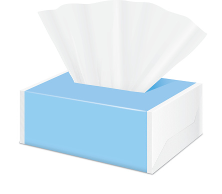 Blue Tissue package by plastic wrap