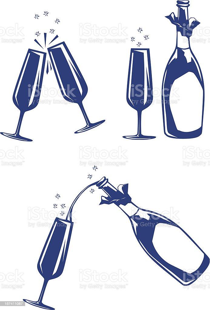 Blue tone illustration of champagne and glasses vector art illustration