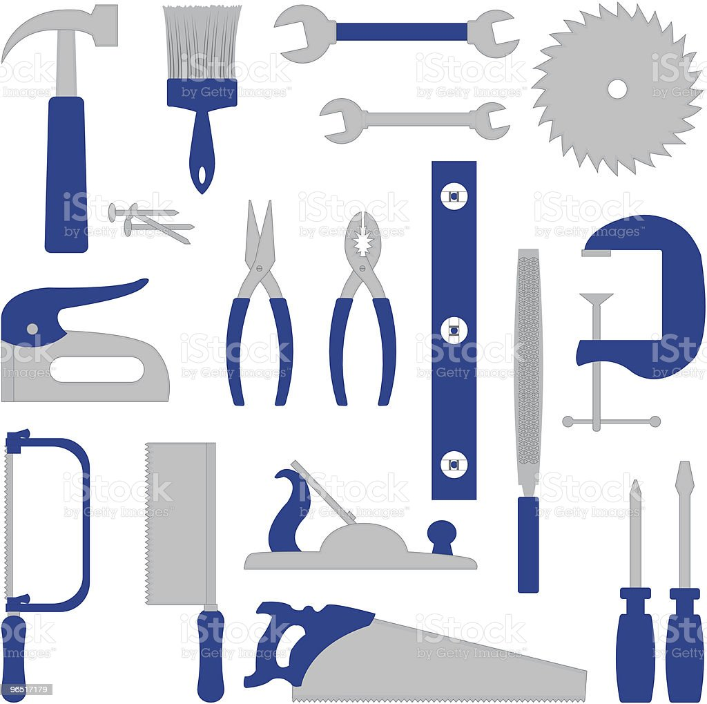 Blue narzędzia blue narzędzia - stockowe grafiki wektorowe i więcej obrazów bez ludzi royalty-free