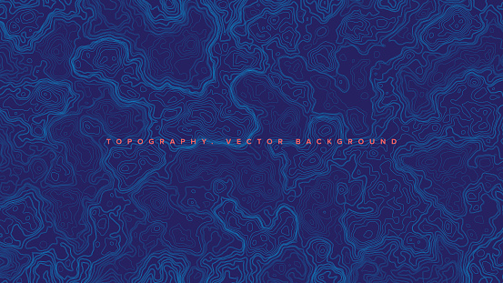 Blue Topographic Contour Map Vector Abstract Background