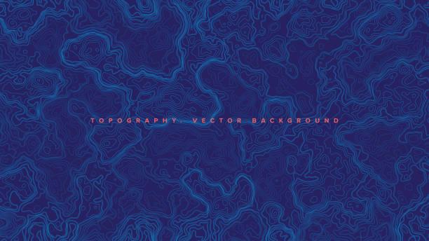bildbanksillustrationer, clip art samt tecknat material och ikoner med blå topografisk kontur karta vektor abstrakt bakgrund - map oceans